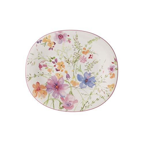 Villeroy & Boch Mariefleur Basic Assiette petit-déjeuner ovale, 23 x 19 cm, Porcelaine Premium, Blanc/Multicolore