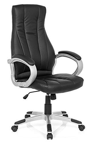 Leder Ergonomische Büro-stuhl (Bürostuhl Chefsessel RELAX CL170 Kunst-Leder Schwarz, Ergonomischer Schreibtisch-Stuhl, X-XL Büro-Drehstuhl, Armlehne, Home-Office, hohe Rückenlehne, 120-kg MyBuero 725011)