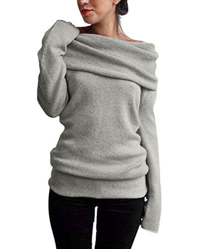ZANZEA Damen Sexy Langarm Off Shoulder Cardigan Asymmetrisch Pullover Strick Langshirt Bluse Top (EU 48, Grau)