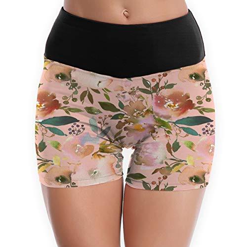 Camoflauge Fall (BigHappyShop Women's Shorts Autumn Fall Floral Peach Multiple Sizes Running Workout Sport Yoga Pants Half Tight)