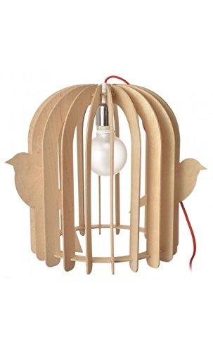 Lampe Cage à oiseaux Lames bois naturel Beige La chaise longue 36-1L-005