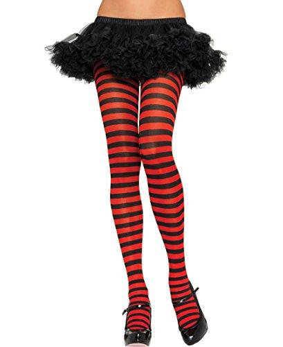 Sexy Spaß schwarz rot Streifen Strumpfhose Strümpfe Halloween Kostüm Schule Nerd Geek Hexe One &Übergröße - schwarz/rot Streifen, Plus Size