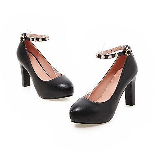 AgooLar Femme à Talon Haut Boucle Couleur Unie Matière Souple Rond Chaussures Légeres Noir