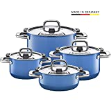 Silit Nature Blue Topfset 4-teilig, Töpfe mit Metalldeckel, Silargan Funktionskeramik, Induktionstöpfe, Topf Induktion, blau