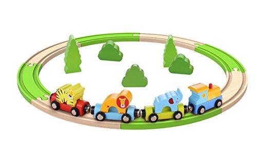 Tooky Toy - Tren de madera con vías y figuras de animales