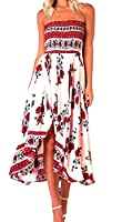 Fulok Women's Casual Off Shoulder Flower Print Pleated Maxi Dress Small Red