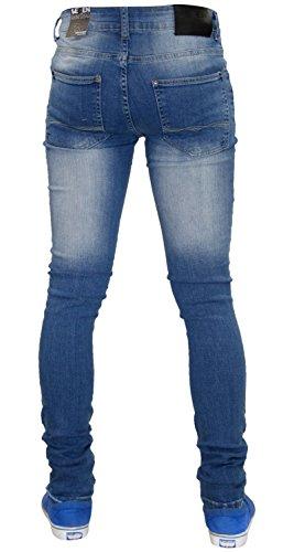 7 Series Super Skinny Denim Fit Genou de nouveaux hommes Ripped Jeans Pantalons étirables Light Wash