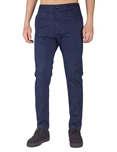 THE AWOKEN Herren Chino Business Hosen Casual Hose Slim Fit Stoffhose Freizeithose Navy Blau
