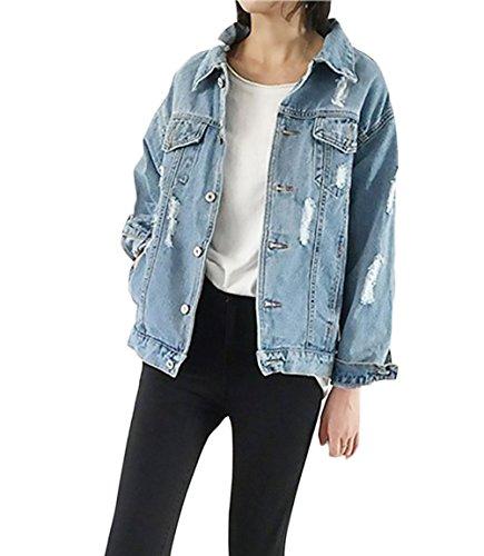 Jeans Damen Jacke Langarm Locker Jeansjacke Mantel Für Mollige Unisex Mode  Casual Löcher Hellblau. 5a0ad6cdf0