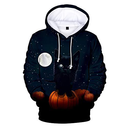 AIDEHUA Herren 3D Hoodie Halloween Cosplay Kostüm Skulls Skeleton Unisex Sweatshirts(XXS(140-150cm),CAT 1) (Herren Cat Kostüm Halloween)