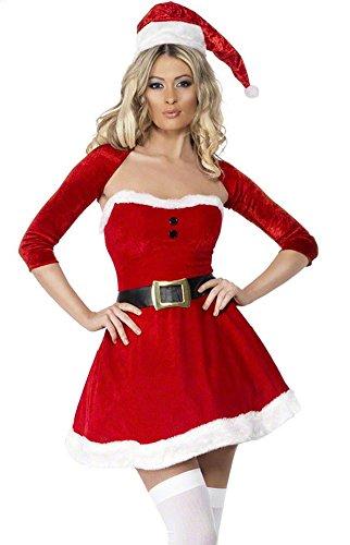 Honeystore 2017 Neuheiten Sexy Weihnachtsmann Kostüm Elfe Weihnachten Santa Weihnachtsfrau Damen Outfit Rot (Für Kostüm Krampus Kinder)