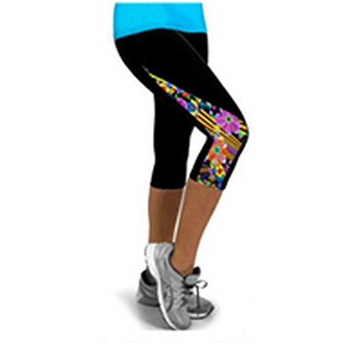Elecenty Yogahosen Sporthose Damen,Dünne Leggings Yoga Hosen Caprihose Frauen Laufhose Strumpfhose Activewear Reizvolle Drucken Blumenmuster Trainingspants Hose Fitnesshose (S, Schwarz) (Womens Capri Pants Spandex)