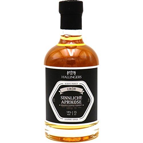 Hallingers Premium Marillen-Likör (350ml) - Sinnliche Aprikose 18% vol. (Exklusivflasche) - zu Passt immer Für Sie Für Ihn - Aprikosen-likör