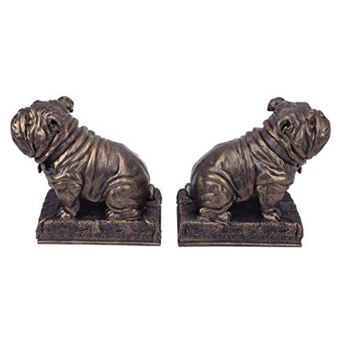 Design Toscano Britisches Maskotchen Bulldogge Buchstützen, Polyresin, bronze-finish, 15 cm, 2er Set - Polyresin Bronze-finish