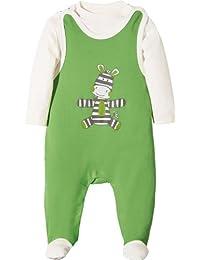 Baby Butt Strampler-Set 2-tlg. mit Applikation Zebra Interlock-Jersey
