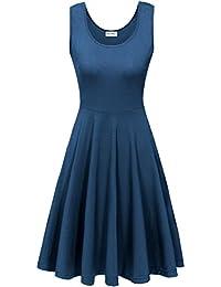 KorMei Damen Ärmelloses Beiläufiges Strandkleid Sommerkleid Tank Kleid Ausgestelltes Trägerkleid Knielang