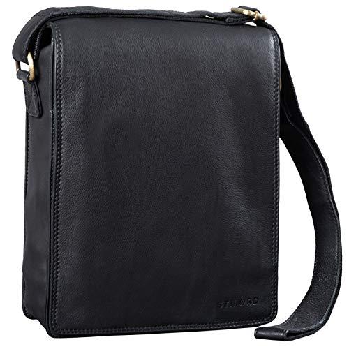 STILORD \'Lars\' Vintage Umhängetasche Leder Herren für 13,3 Zoll Tablet MacBooks und iPad Schultertasche Herrentasche Messenger Bag Echtleder, Farbe:schwarz
