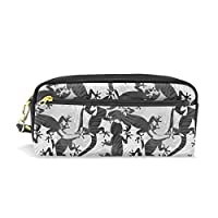 Pencil Case, Lizard Printed Travel Makeup Pouch Large Capacity Waterproof Leather 2 Compartments for Girls Boys Women Men
