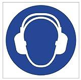 Anro Gebotsschild Gehörschutz Tragen M003 | Sicherheitsschild aus PVC 10 x 10 cm | Hinweis-Schild für Betriebe, Produktionen & Flughäfen |