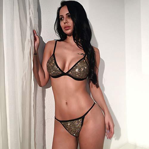 LiXiZhong Frauen Sexy Zweiteiler Badeanzug Strass Glitter Badeanzug Brazilian Bikini Bottom (Color : Gold, Size : M) Sexy Gold-glitter