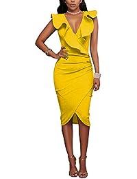 Gikim - Vestido de Bodycon para Mujer, Estilo Vintage, Cuello en V