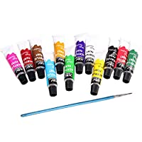 Sumeier Acrylic Paint Set 12 Colors with Brush ,Non Toxic & Vibrant Colors. Rich Pigments Lasting Quality for Beginners, Students & Professional Artist