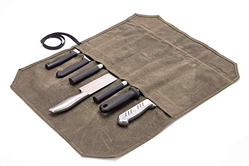 Sac de rangement robuste en toile cirée pour couteaux de chef, avec 6 emplacements pour couteaux kaki