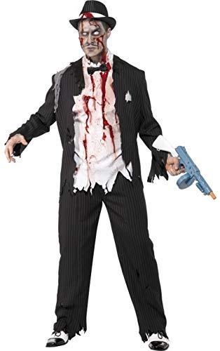 Kostüm Gangster Zombie Herren - Herren schwarz oder weiß 1920s Jahre Leiche Dead Zombie Gangster Halloween Kostüm Kleid Outfit - Schwarz, Large / 42