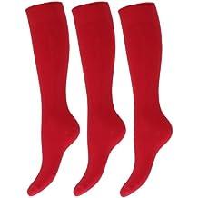 Severyn Calcetines lisos altos hasta la rodilla de uniforme de colegio para niños/niñas (