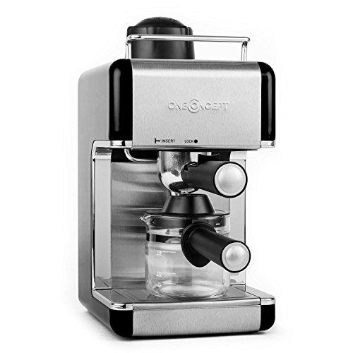 oneConcept Sagrada macchina per caffè espresso caffettiera con beccuccio emissione vapore (800W, 4 tazze, caraffa vetro, montalatte, acciaio inox) - nero