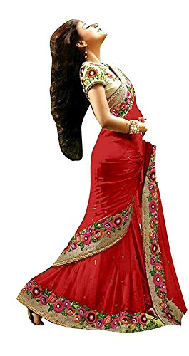 I-Brand Women's Faux Crepe Saree (Isunsa608-Ib_Red)