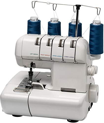 MEDION MD 14302 - Máquina de bloqueo remalladora, 90 vatios, lámpara de 15 vatios, 1000 puntadas por minuto, ancho de corte ajustable, Blanco