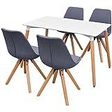 Festnight 5-teilige Essgruppe inkl. 1 Esszimmertisch und 4 Essstühle Retro Küchen-Set Esszimmer Sitzgruppe Esszimmergarnitur - Weiß und Hellgrau