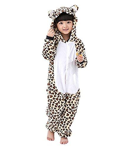 (Magicmode Unisex Kinder Cartoon Gefleckte Leopard Einteiler Strampelanzug Schlafanzug Cosplay Kostüm 140cm)