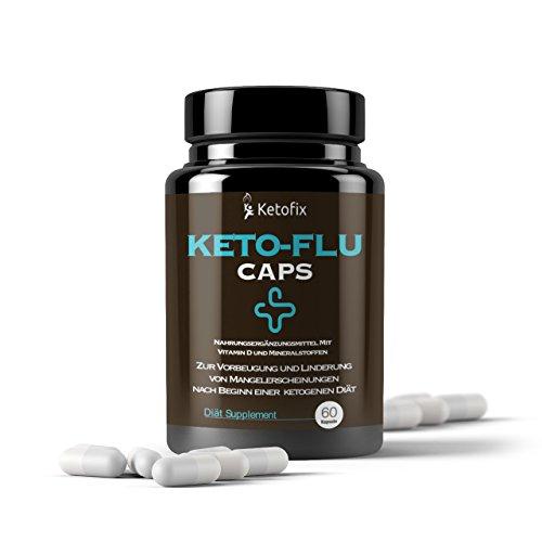 KETOFIX KETO-FLU CAPS Ketogene Ernährung Elektrolyte Vitamin D3 Supplement | Mineralstoffe für Diät & Sportler | 60 Keto Diät Kapseln vegan vegetarisch