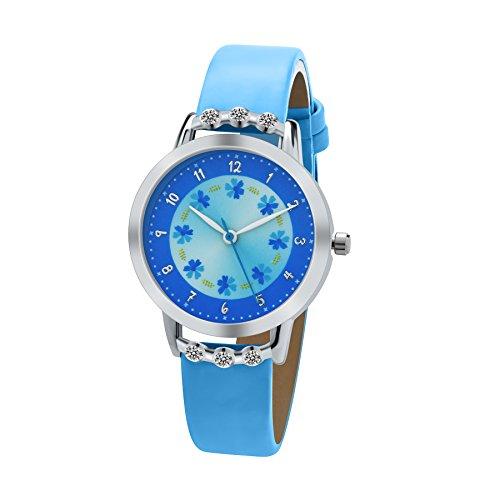 dovoda-kinder-armbanduhr-madchen-quarz-analog-lederband-flower-dial-blau