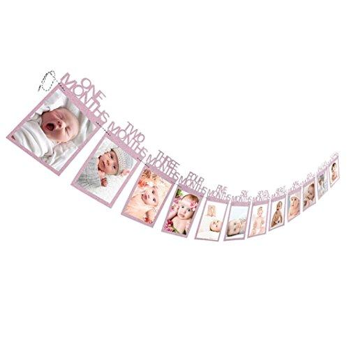 Neugeborenes bis 12 Monate Baby-Monatsfoto-Wand für 1. erste Geburtstags-Party-Dekoration, Foto-Fahnen-Baby-Wachstums-Rekord-Girlande 1-12 Mund-Foto-Seil-Fahne (Pink)
