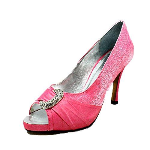 Mesdames scintillent moyen talon chaussures peep toe strass croissant de partis pink