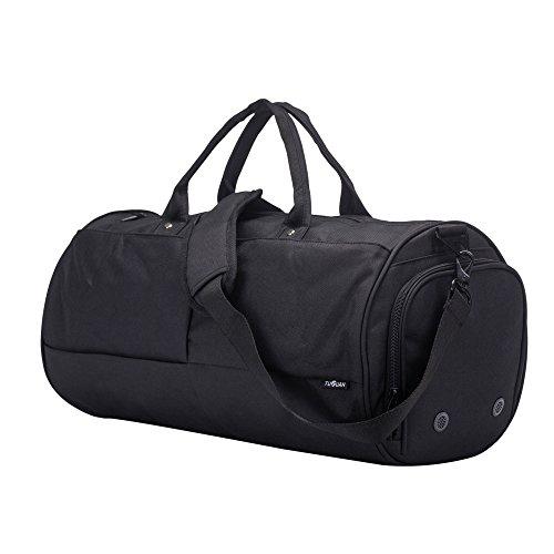 Mens Schultertasche oder Holdall Sporttasche Water-Resistant Travel Duffle Bag Sport Duffel Bag mit Schuhfach für Reisen, Wochenende, Übernachtung- Schwarz (Schwarze Trainer-laptop-tasche)