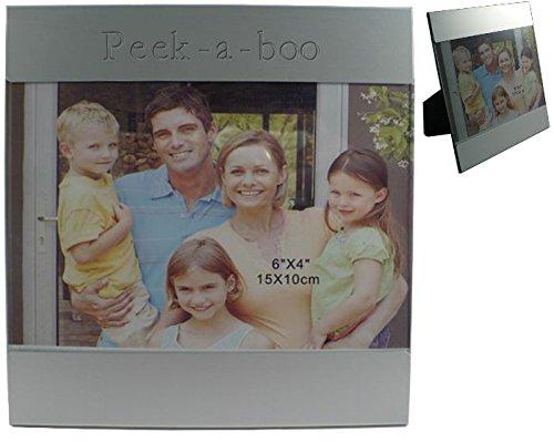Kundenspezifischer gravierter Fotorahmen aus Aluminium mit Namen: Peek-a-boo (Vorname/Zuname/Spitzname) (Metall Peek-a-boo)