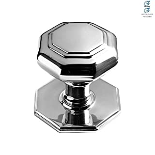 Polished Chrome Octagonal Centre Pull Fixed Door Knob/Handle - Golden Grace