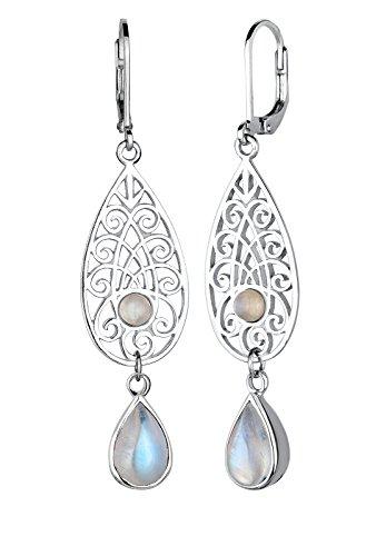 Elli Damen-Ohrhänger Ornament Orientalisch Tropfen Mondstein Glamour Elegant silber 925