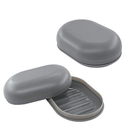 2pcs Dusche Seifenschale Grau Seife Form Halter Deck Seife Box für Bad Schwamm Seife