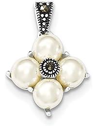 Broche de plata de ley perlas blancas y lámpara de techo Macarisite - JewelryWeb