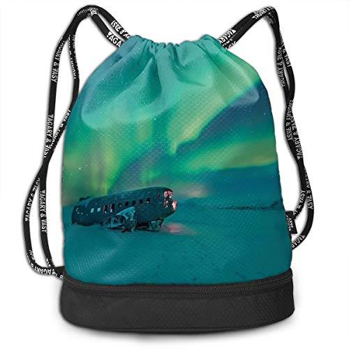 LULABE Printed Drawstring Backpacks Bags,Old Plane Wreck Under Aurora Borealis Misty Winter Day View,Adjustable String Closure