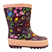 Stormwells Girls Mauve Purple Floral Wellington Boots