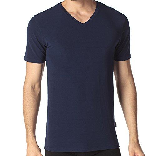 Blaue Trainings T-shirt (Lapasa Herren T-Shirt, 2er Pack V-Neck T-Shirt für Herren, troknet schnell , T-Shirt für Männer, V-Ausschnitt, Modal, M008, Navy Blau, L (Regular Fit))