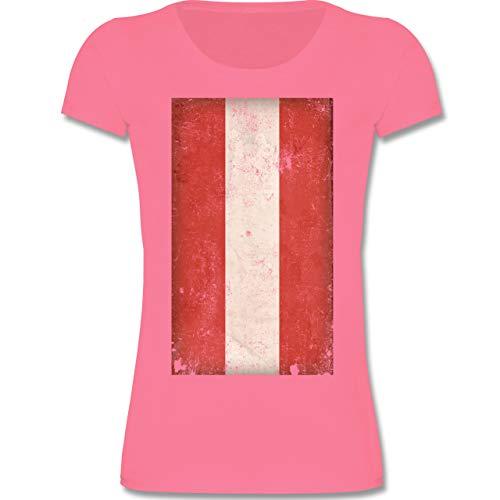 Städte & Länder Kind - Österreich Flagge Vintage - 98-104 (3-4 Jahre) - Rosa - F288K - Mädchen T-Shirt