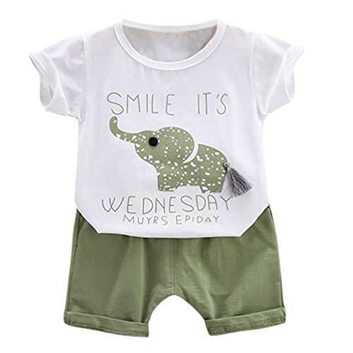 Baby Kleidung,Janly Boy Girl Cartoon Brief gedruckt T-Shirt Tops + Shorts Outfit Set (80/S, Grün)