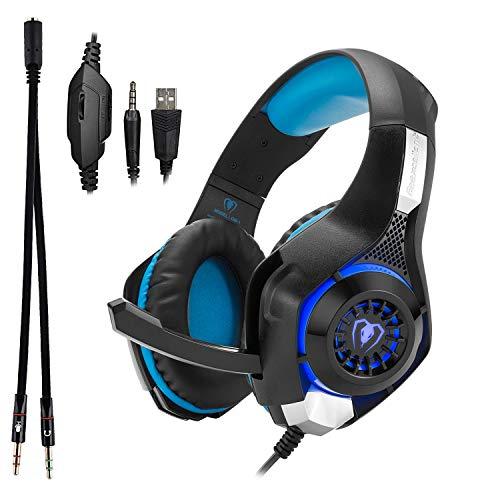Beexcellent GM-1, Over-Ear Pro Gaming Headset, mit Kabel, 3,5 mm Stecker, Surround Sound, Kopfhöher mit LED-Beleuchtung und Mikrophon, für PS4, Xbox One, PC, Laptop, Tablet, Mobiltelefon (blau) Headset-stecker